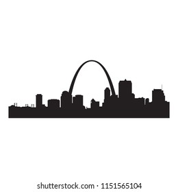 St. Louis City Skyline, silhouette - Vector