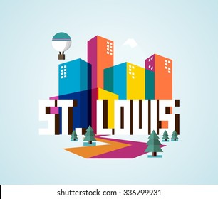 St. Louis city travel destination in USA. vector cartoon,