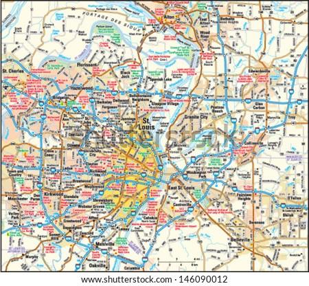 St Louis Missouri Area Map Stock Vector (Royalty Free) 146090012 ...