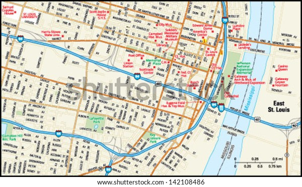 St Louis Missouri Downtown Map Stock Vector (Royalty Free ...