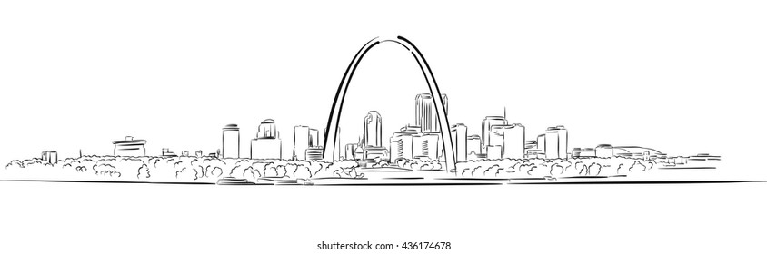 St Louis, Missouri, Hand-drawn Outline Sketch, Vector Artwork