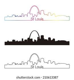 St Louis skyline linear style with rainbow in editable vector file