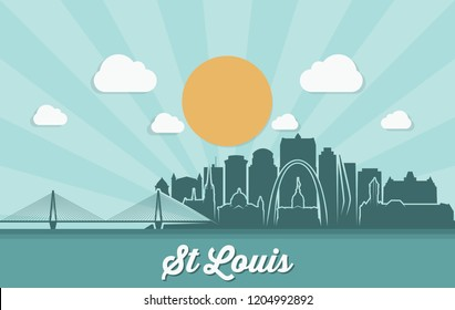 St Louis skyline - Missouri - United States of America USA - vector illustration