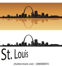 St Louis skyline in orange background in editable vector file