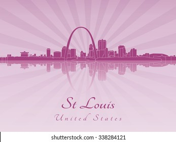 St Louis skyline in radiant orchid in editable vector file