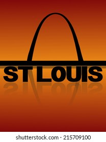 St Louis skyline reflected with text and sunset vector illustration