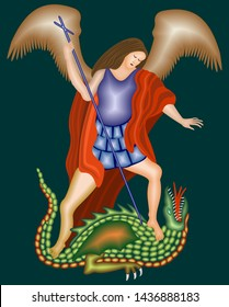 St. Michael, the Archangel fighting the dragon, on a dark background