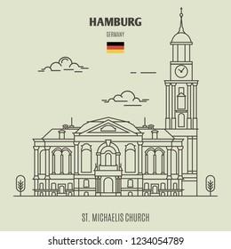 St. Michaelis Church in Hamburg, Germany. Landmark icon in linear style