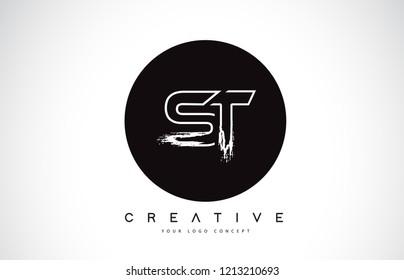 ST Modern Leter Logo Design with Black and White Monogram. Creative Letter Logo Brush Monogram Vector Design.