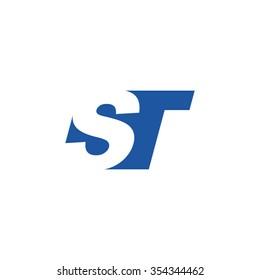 ST negative space letter logo blue