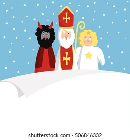 St. Nicholas with devil,angel and blank paper. Cute Christmas invitation, card, wish list. Flat design, vector illustration, winter background.