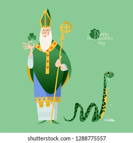 St Patrick (Apostle of Ireland ) banishes snakes from Ireland. The patron saint of Ireland. Vector illustration