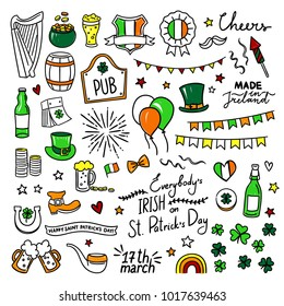 St. Patrick Day doodle illustrations. Hand drawn holiday party objects about Ireland