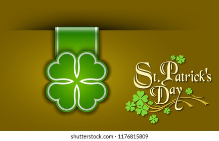 St. Patrick Day poster. A cloverleaf and greeting inscription in green colors. Vector illustration
