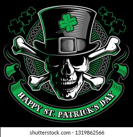 St. Patrick Day poster. Skull and crossbones with leprechaun`s hat and clover leaf design elements with wishing lettering on green. Vector illustration.