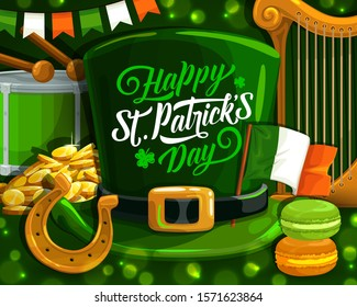 St Patrick Day shamrock and leprechaun hat, Irish religion holiday vector design. Gold coins, green leaf of clover and horseshoe, flag of Ireland, celtic elf hat and harp, drum, macaron, bunting