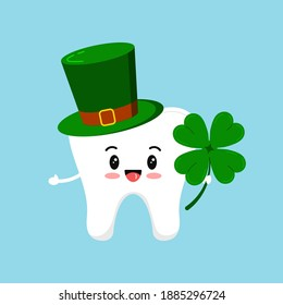 St Patrick day tooth in leprechaun hat and clover in hand. Dental tooth irish character with quatrefoil clover, green cylinder hat. Flat design cartoon style dentist celebration vector illustration.