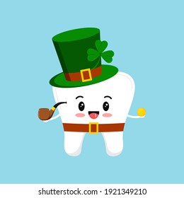 St Patrick day tooth in leprechaun costume with shamrock gold coin. Dental tooth irish character with money, clover, pipe, green hat. Flat design cartoon style Saint Patrick day vector illustration.