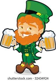 st. patrick leprechaun with mugs of beer
