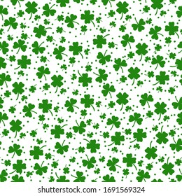 St Patrick s Day Clover seamless pattern. Vector illustration for lucky spring design with shamrock. Green clover isolated on white background. Ireland symbol pattern. Irish decor for web site.