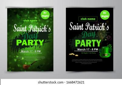 St. Patrick s Day poster set Vector illustration