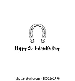 St. Patrick s Day. Retro style emblem of horseshoe. Vector illustration isolated on white background.