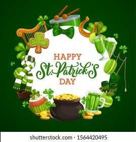 St Patrick shamrock and leprechaun pot of gold, Irish holiday greeting card. Vector clover leaves, green beer and golden coins, lucky horseshoe, celtic elf treasure cauldron and drum, harp and bagpipe