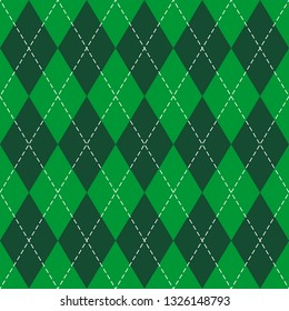 St. Patricks day Argyle plaid. Scottish pattern in green and white rhombuses. Scottish cage. Traditional Scottish background of diamonds. Seamless fabric texture. Vector illustration