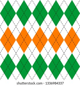 St. Patricks day Argyle plaid. Scottish pattern in green, orange and white rhombuses. Scottish cage. Traditional Scottish background of diamonds. Seamless fabric texture. Vector illustration