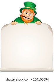 St. Patrick's Day Background. Cartoon Leprechaun with Blank Sign. Vector