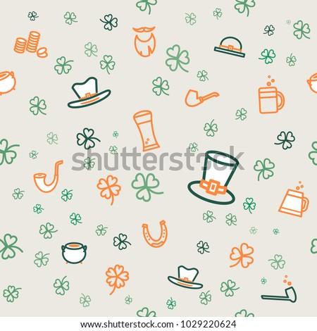 St Patricks Day Background Clover Flat Vector de stock (libre de ...