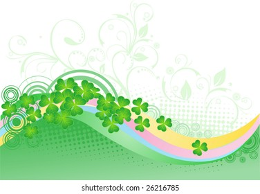 St. patrick's day background with  Four Leaf Clover