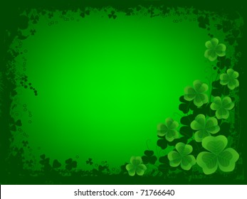 St. Patrick's day background with frame of clovers