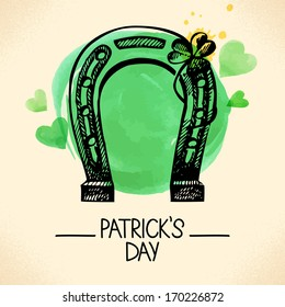 St. Patrick's Day background with hand drawn sketch and watercolor illustrations