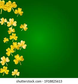 St patricks day background with shamrock. Lucky trefoil confetti. Glitter frame of clover leaves. Template for flyer, special business offer, promo. Dublin st patricks day backdrop.
