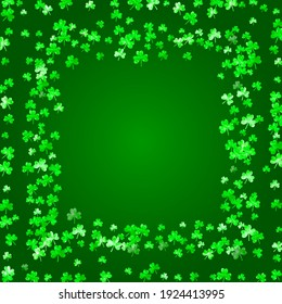 St patricks day background with shamrock. Lucky trefoil confetti. Glitter frame of clover leaves. Template for voucher, special business ad, banner. Dublin st patricks day backdrop.