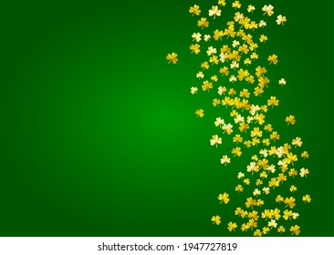St patricks day background with shamrock. Lucky trefoil confetti. Glitter frame of clover leaves. Template for party invite, retail offer and ad. Dublin st patricks day backdrop