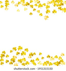 St patricks day background with shamrock. Lucky trefoil confetti. Glitter frame of clover leaves. Template for party invite, retail offer and ad. Dublin st patricks day backdrop.