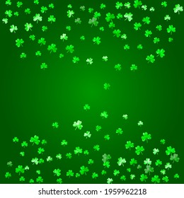 St patricks day background with shamrock. Lucky trefoil confetti. Glitter frame of clover leaves. Template for gift coupons, vouchers, ads, events. Dublin st patricks day backdrop.