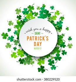 St Patrick's Day background. Vector illustration for lucky spring design with shamrock. Green clover border and round frame isolated on white background. Ireland symbol pattern. Irish header for web.