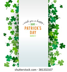 St Patrick's Day background. Vector illustration for lucky spring design with shamrock. Green clover border and stripe frame isolated on white background. Ireland symbol pattern. Irish header for web.
