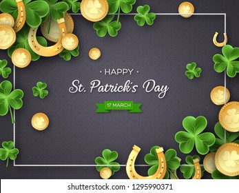 St. Patricks Day card. Clover leaves, golden horseshoes and coins on dark background for greeting holiday design. Vector illustration.