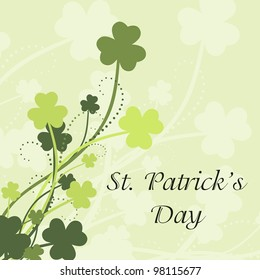 St Patrick's Day card with shamrock leaves in green colors