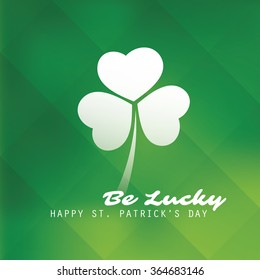 St Patrick's Day Card Template Design With Green Blurred Background - Be Lucky