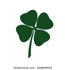 St Patricks Day clover icon flat, sign. Vector Illustration.