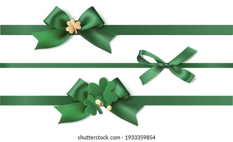 St Patrick's day  design template. Set of  green bow with horizontal ribbon and clover leaves isolated on white. Realistic holiday elements. Vector stock illustration.