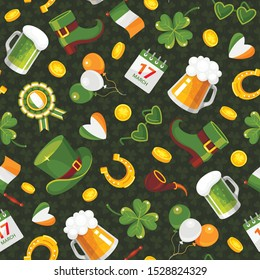 St. Patricks Day flat vector color seamless pattern. Decorative texture with cartoon four leaf clover, horseshoe, leprechaun hat. Traditional Irish holiday wrapping, wallpaper, textile design idea