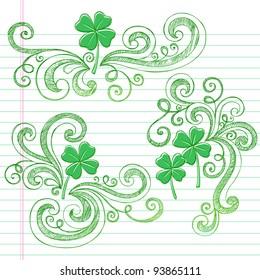 St Patricks Day Four Leaf Clover Sketchy Doodle Shamrocks Back to School Style Notebook Doodles Vector Illustration Design Elements on Lined Sketchbook Paper Background