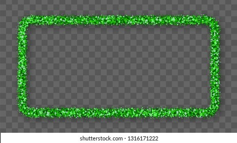 St. Patrick's Day Frame With Bland Shadows Isolated On Transparent  Background. Abstract Green Texture Rectangle Border. Vector Illustration, Eps 10.