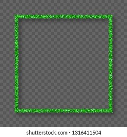 St. Patrick's Day Frame With Bland Shadows Isolated On Transparent  Background. Abstract Green Texture Square Border. Vector Illustration, Eps 10.